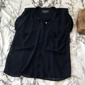 PJK Patterson Short Sleeve Navy Blouse Size XS